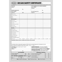 UK gas safety certificate pad