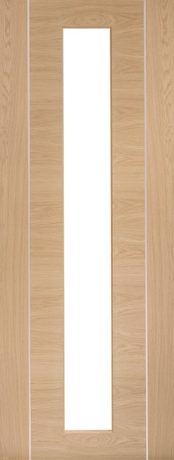 Oak Pre-Finished Forli (Alum Inlay) Clear Glass