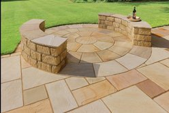 Buff Sandstone Paving Circle Square Off Kit 2.7M