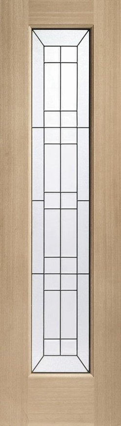 Bevelled Side Light Triple Glazed External Oak Door (Dowelled) with Black Caming