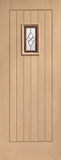 Chancery Onyx Triple Glazed External Oak Door (M&T) with Brass Caming