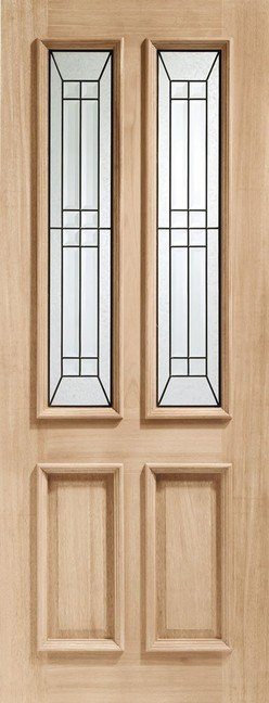 Malton Diamond Triple Glazed External Oak Door (M&T) with Black Caming